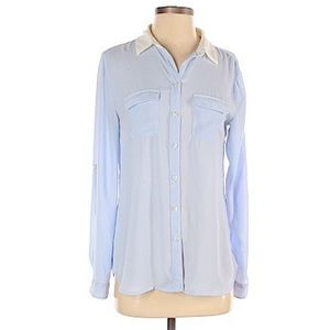 LOFT Blue and White Button Up